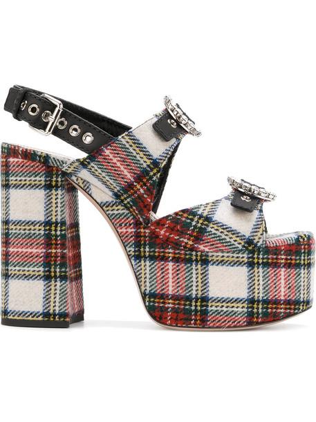 Miu Miu women sandals platform sandals leather cotton tartan shoes