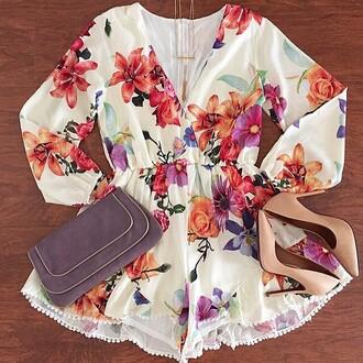 romper divergence clothing boho chic white romper floral floral romper pom pom shorts pom pom romper coachella fashion