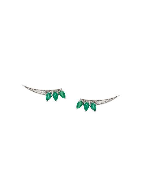 Gisele For Eshvi bow women earrings gold white grey metallic jewels