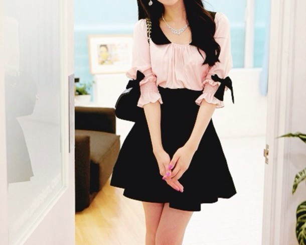 blouse pink blouse dress bow top cute dress black dress