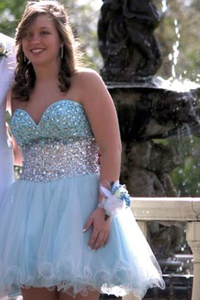 dress shot baby blue puffy prom dress