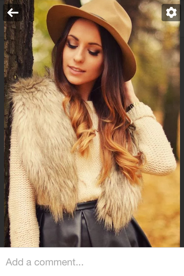 jacket fur gilet leather skater skirt white top top