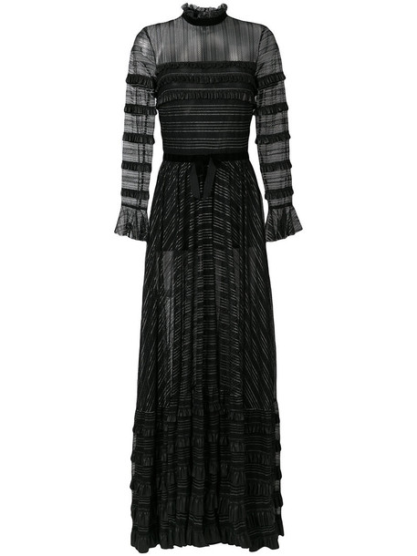 Philosophy di Lorenzo Serafini gown sheer ruffle women black dress