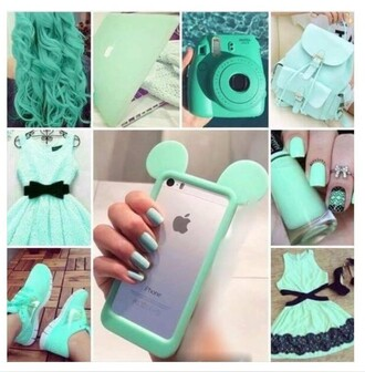 shoes nike bag spike book bag iphone 6 case nail polish camera mint iphone 6 plus green hair apple polaroid camera
