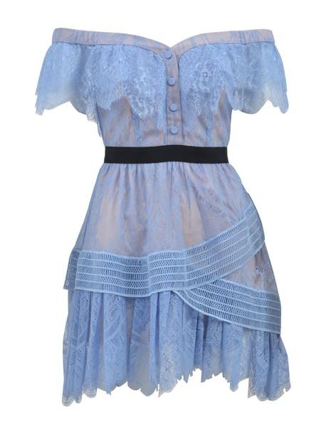 self-portrait dress mini dress mini lace baby blue baby blue