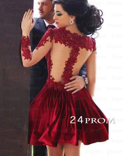 Red A-line Short Lace Prom Dresses, Homecoming Dresses - 24prom