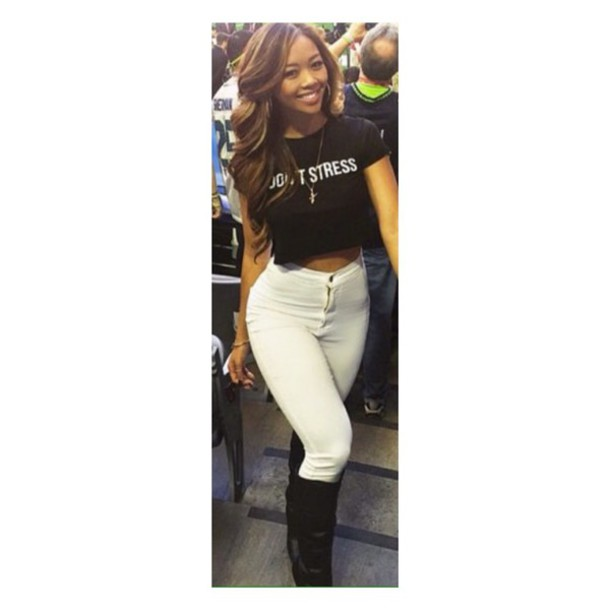 top quote on it white jeans fashion black white love style like cute funny urban i don't know hot good nice lovely fashionista sassy random t-shirt crop short