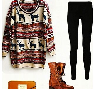 sweater combat boots leggings black leggings fall outfits deer oversized sweater christmas sweater