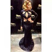 dress,black,long sleeves,mermaid prom dress,cut-out dress,shimmer dress,sparkly dress,floor length dress,celebrity style,ashanti