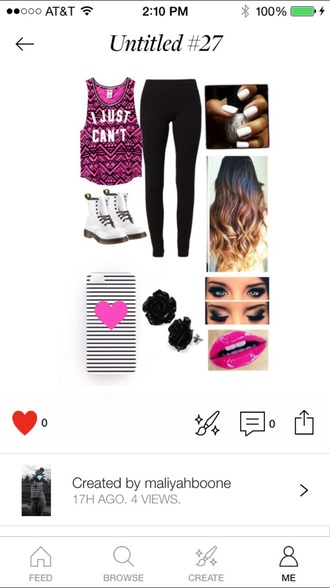 shirt dr leggings t-shirt phone cover lipstick ear piercings nail polish drmartens hair make-up shoes