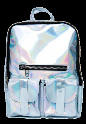 bag backpack silver iridescent hologram cyber shiny accessories