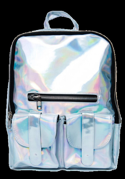 bag backpack silver iridescent holographic cyber shiny accessories holographic silver shiny metallic metallic bag metallic backpack
