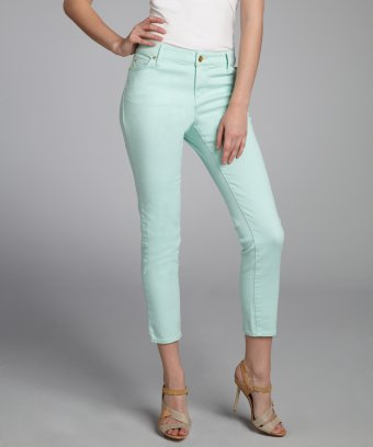 Ellen Tracy mint stretch denim skinny cropped jeans | BLUEFLY up to 70% off designer brands