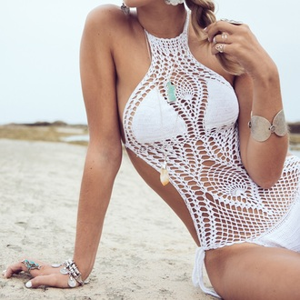 swimwear knit white sexy bikini knitted crotchete