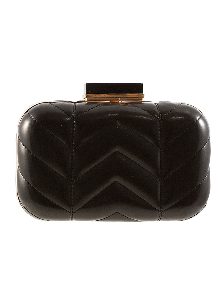 Stitched zig zags resin top structured pu clutch – lilypop boutique