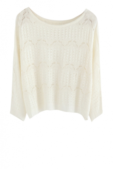 Knit round neck cropped sweater