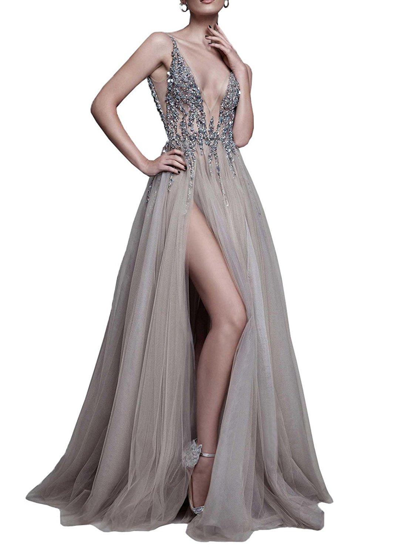 Amazon.com: DYS Women's Tulle Deep V Neck Prom Dress with Side Split Open Back Beaded Dress: Clothing