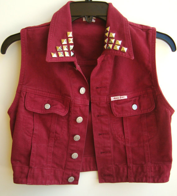 Red Denim Vest Vintage Guess Sleeveless Jean Jacket Studded Jean Vest Maroon Color Size Small on Wanelo