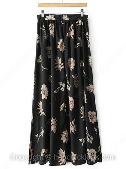 Black Fashion Long Flower Print Ruched Zipper Fly Skirt - HandpickLook.com