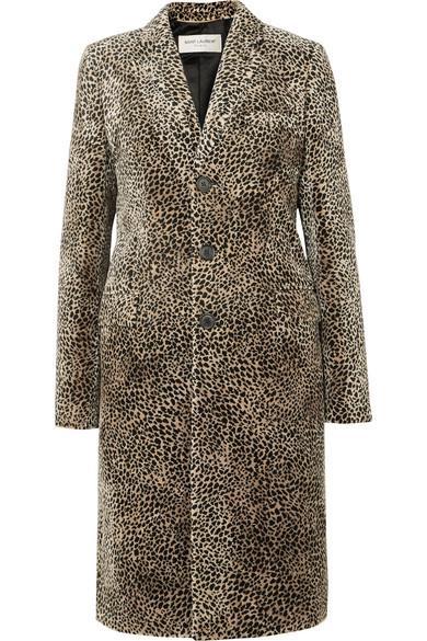SAINT LAURENT - Leopard-print Jacquard Coat - Beige - Leopard-print Jacquard Coat