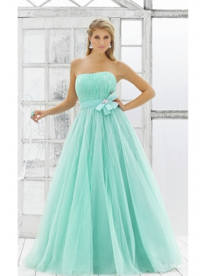Buy Graceful Blue Strapless Bowknot Beadings Ball Gown Prom Dress under 200-SinoAnt.com