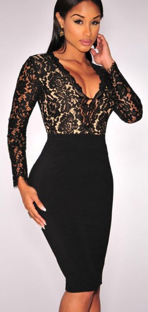 Dress Deep V Sexy Dress Black Dark Long Sleeves Black Bodycon