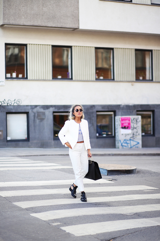 angelica blick blogger white pants white jacket cut out ankle boots black bag