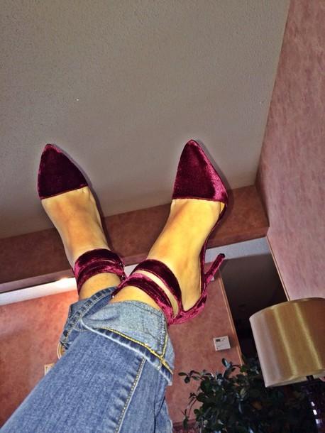shoes heels high heels velvet velvet shoes burgundy shoes velvet sandals