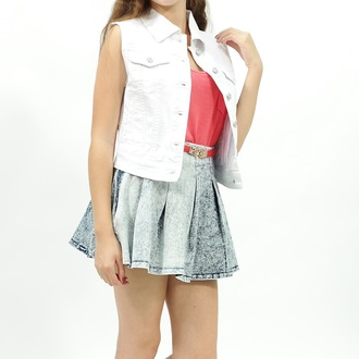 jacket jean vest vest denim jacket denim white skirt