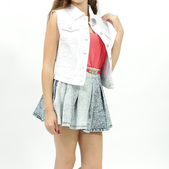 white denim skirt jacket denim jacket vest
