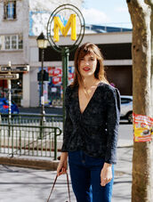 blouse,rouje,deep v blouse,rouge.com,top,french girl style,jeanne damas,v neck,black top,jeans,blue jeans,rouje.com
