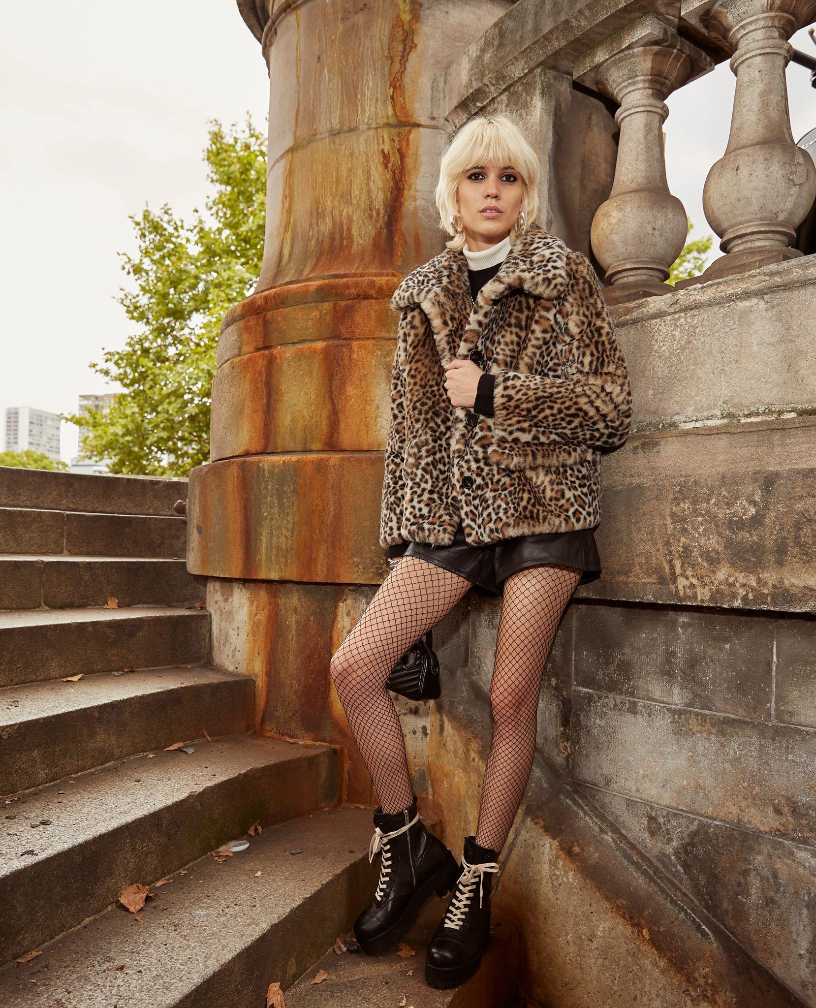 Leopard faux fur coat with XXL collar