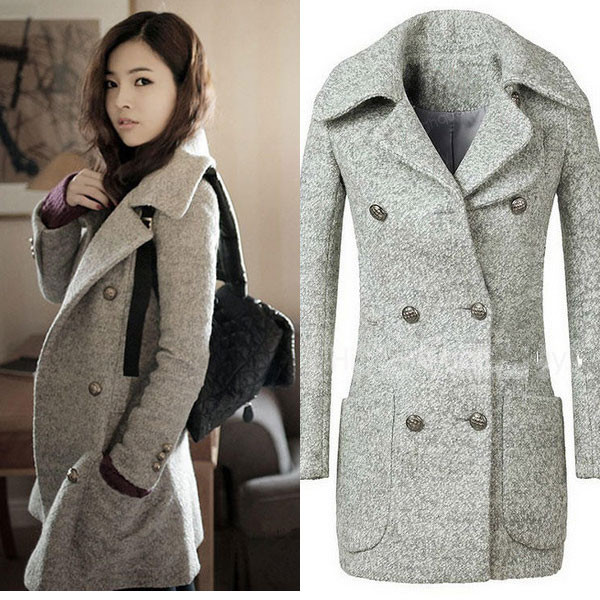 slim double breasted wool coat