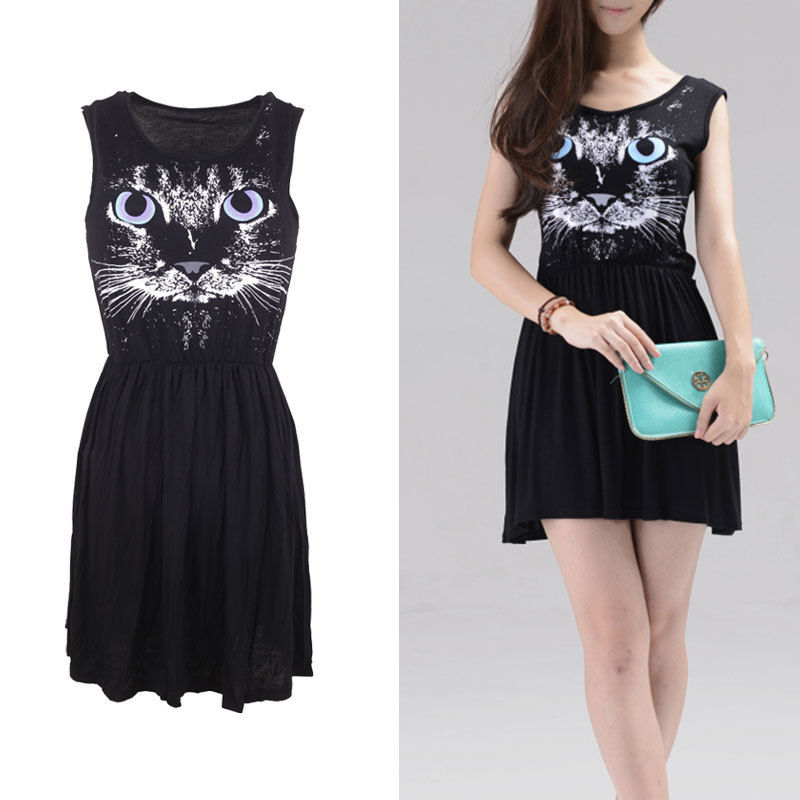 Women's European Style Sleeveless Dress Blue Eye Cat Print Cotton Vest Dress