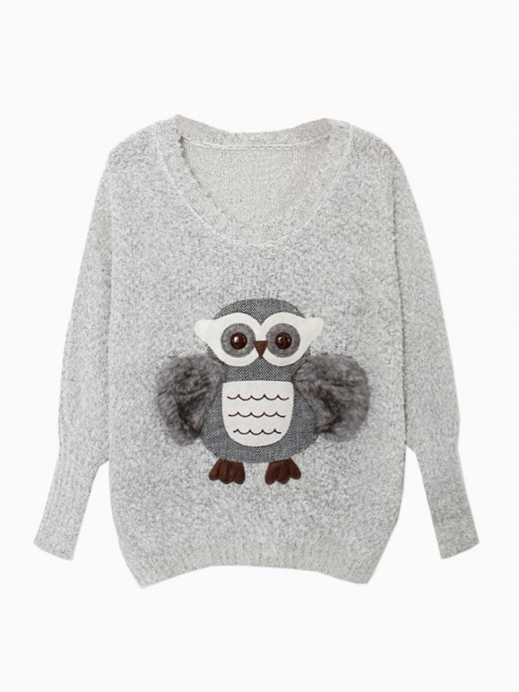 Fluffy Cute Owl Jumper In Gray | Choies