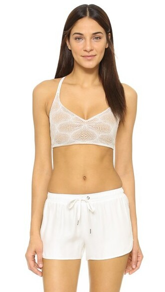 top bralette top soft lace white