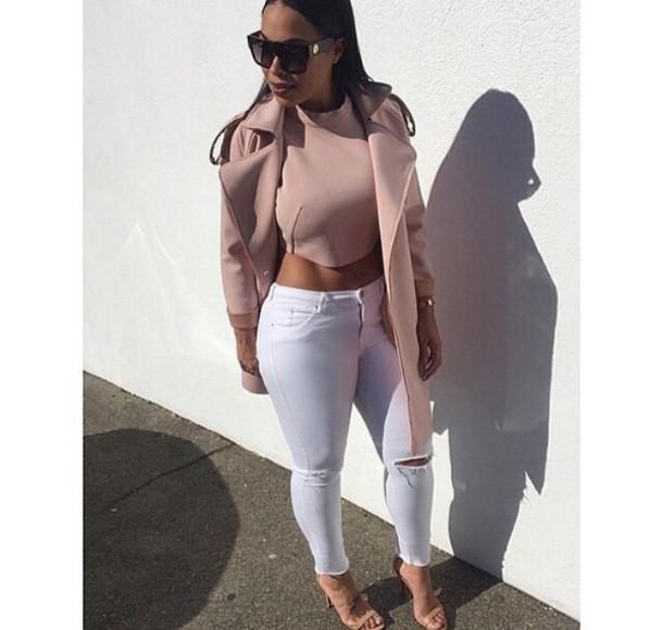 coat nude white jeans top jeans heather sanders glasses pants black girls killin it instagram