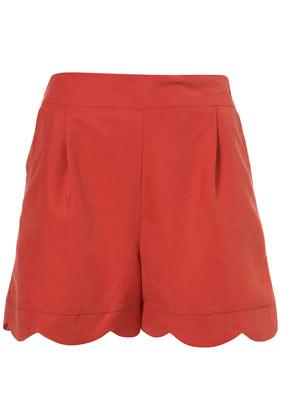 Red scallop hem shorts