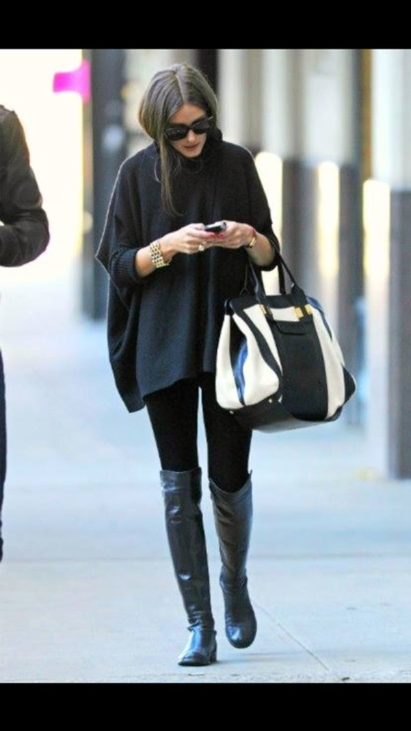 sweater shoes olivia palermo bag coat top