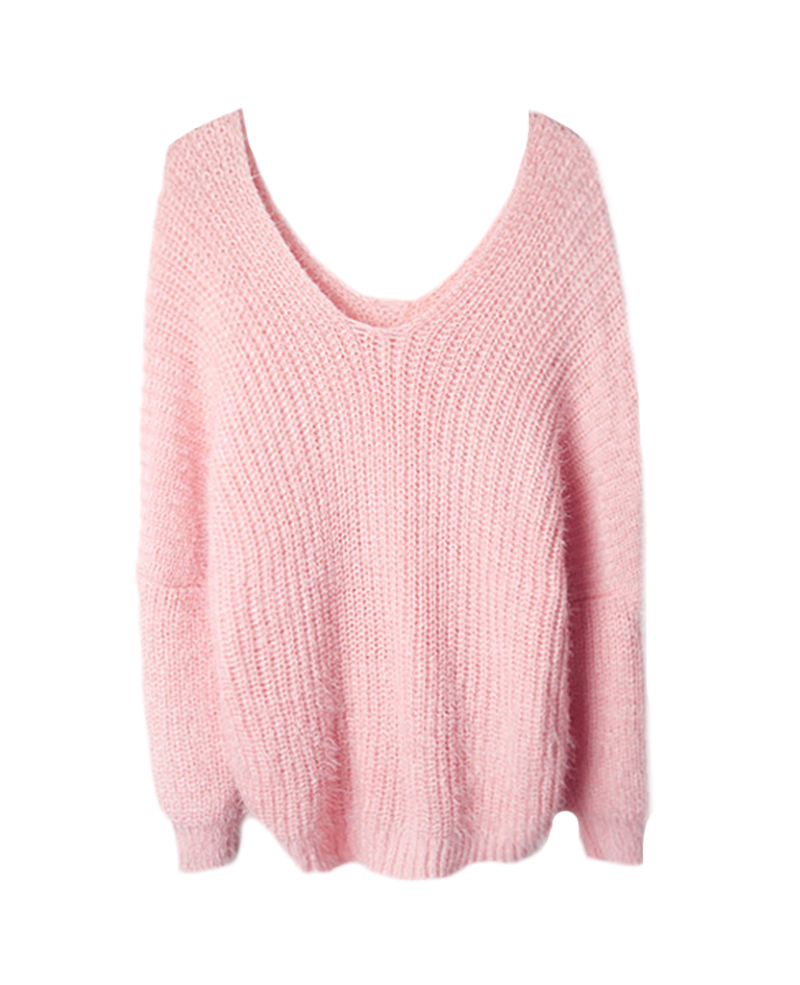 Neck loose mohair knit sweater