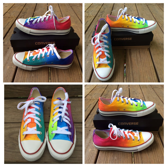 2a23c4f5fd93 Rainbow Tie Dye Custom Converse Shoes