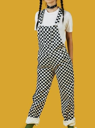 jumpsuit girly checkered overalls black black and white tumblr
