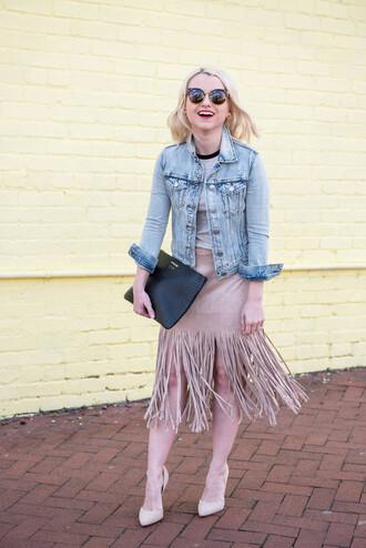 poor little it girl blogger skirt t-shirt shoes bag jacket denim jacket fringe skirt beige skirt clutch nude heels grey top