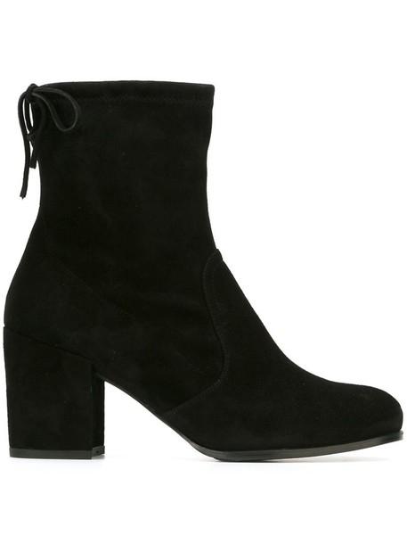 Stuart Weitzman - block-heel booties - women - Suede/Satin/rubber - 35.5, Black, Suede/Satin/rubber