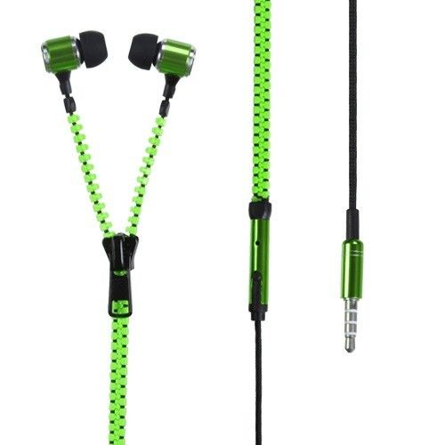 Never Tangle Green Zipper Style Earbud 3.5mm Headphone Earphone With Microphone | eBay