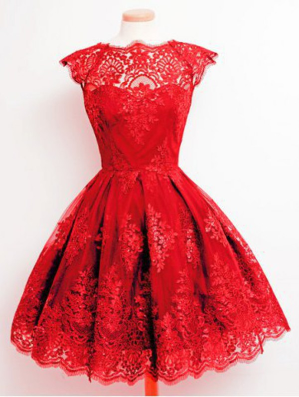 Dress: red, prom, puffy, cute, girly, lace, fashion, style, red ...