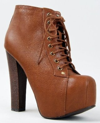Amazon.com: Breckelle's BRITNEY-02 Women's Round Toe Lace Up Zipper Wooden Chunky High Heel Platform Ankle Booties: Shoes