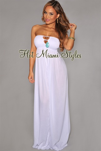 white cutout coverup strapless maxi dress