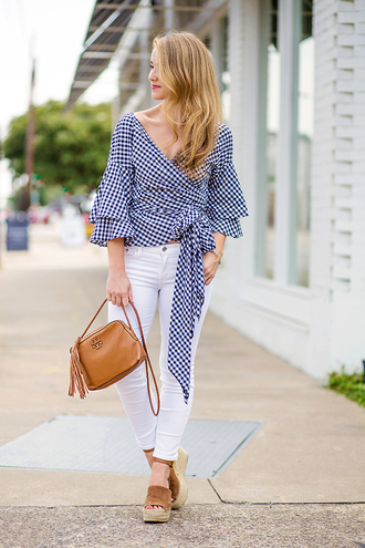 a lonestar state of southern blogger top jewels shoes bag jeans fall outfits gingham wedges white pants