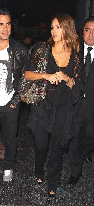 cardigan kimono jessica alba all black everything sandals pants